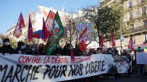 Tête de cortège Marche des Libertés à Paris. Photo SNJ - Brice Ivanovic